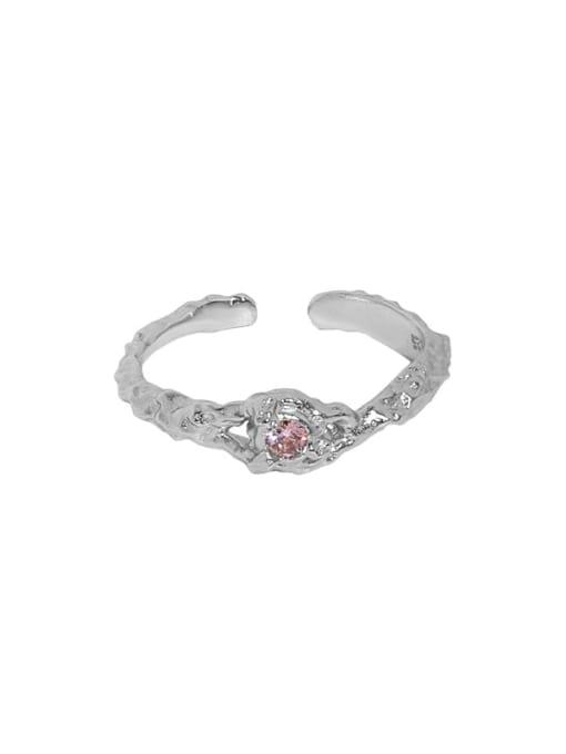Platinum [14 adjustable 925 Sterling Silver Cubic Zirconia Irregular Vintage Band Ring
